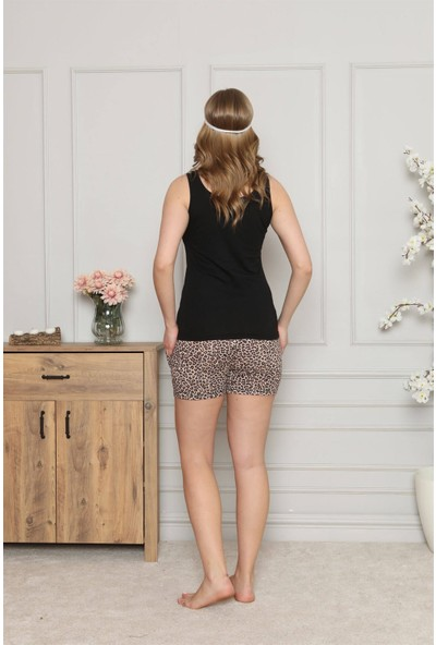 Akbeniz Kadın %100 Pamuk Penye Kalın Askılı Şortlu Pijama Takım 4326