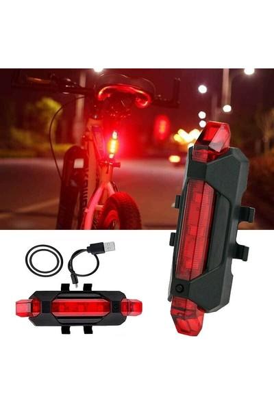 Turkish A2Z USB Sarjlı LED 4 Fonksiyonlu Bisiklet Arka Stop Uyarı Ikaz Işığı