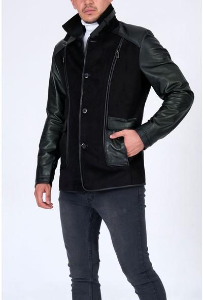 Erkek Hakiki Deri Süet Detaylı Düğme Kapama Siyah Mont Ceket