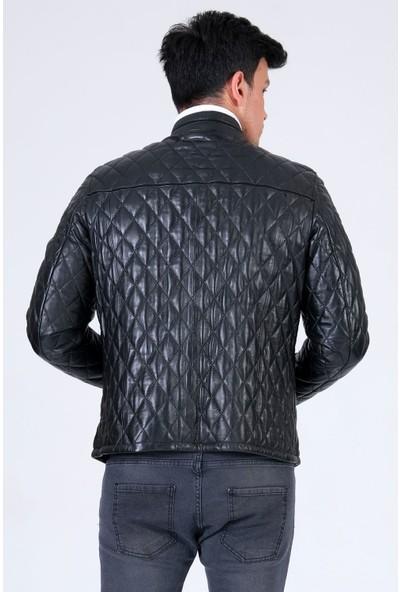 Erkek Hakiki Deri Mont Baklava Desen Siyah Ceket