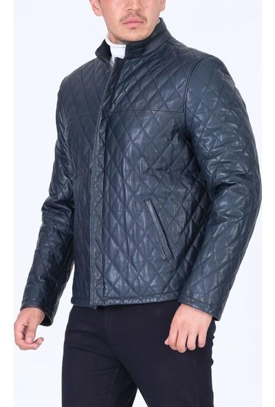 Erkek Hakiki Deri Mont Baklava Desen Lacivert Ceket