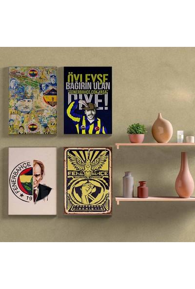 Nefes Fenerbahçeye Özel Motifli Dekorasyon Duvar Tabloları 4 Lü Set