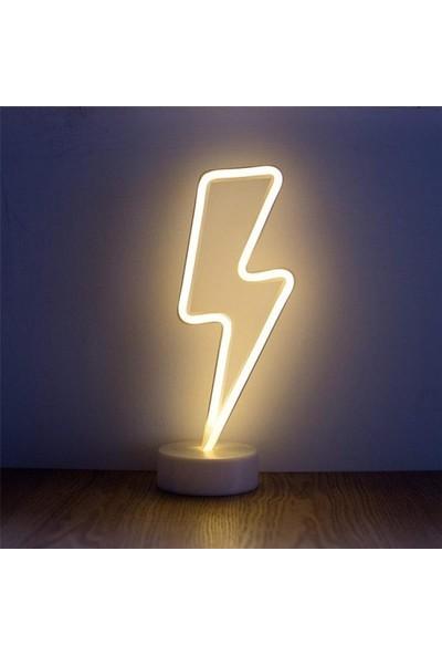 Lumenn Şimşek Pilli Neon Gece Lambası-Led Aydınlatma