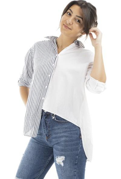 Garba Donna Kadın Ön Arka Düğme Detaylı Gömlek - Mavi Beyaz