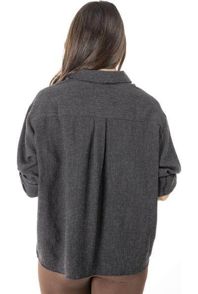 Garba Donna Kadın Füme Cep Detaylı Gömlek - Siyah