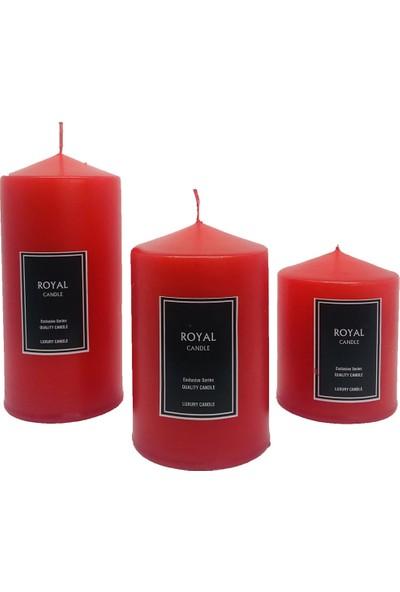 Royal Mum Silindir Mum Süper 3 Lü Set Kırmızı Çap 6 cm Boy 6-9-12 cm