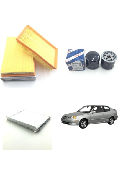 Wunder Hyundai Accent 1.3 - 1.5 Benzinli 2000 - 2006 Filtre Bakım Seti