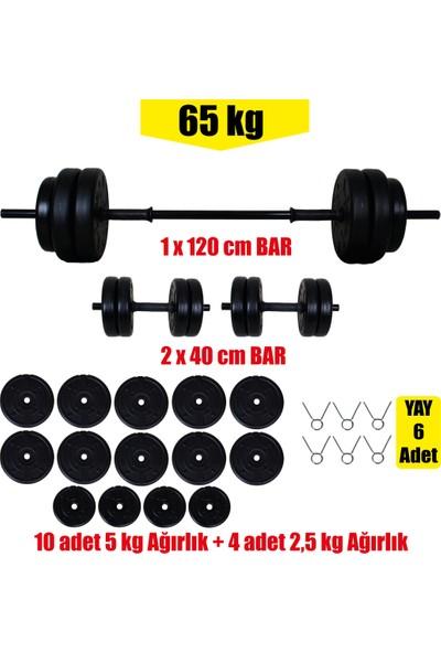 Aydın Sport 65 kg Dambıl Seti, Halter Seti ve Ağırlık Fitness Seti