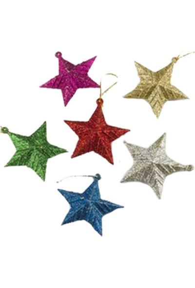 Parti Dünyası Renkli Simli Yıldız Ağaç Süsleri 6 Adet