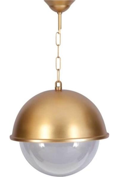 Crystal Palace Bahçe Avizesi Tekli Sarkıt Avize Karpuz Lamba Gold Avize Altın Yaldızlı Glop Gloplu Avize 30 x 50 cm