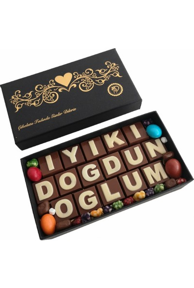 40 Yıl Çikolata Kahve Yazılı Harfli Isimli Doğum Günü Çikolata Kutusu Iyiki Doğdun