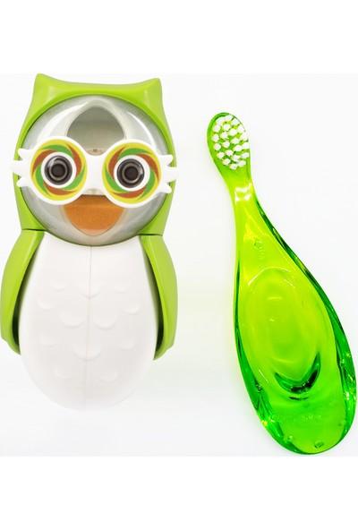 R.o.c.s. Baby 0-3 Yaş Diş Fırçası ve Flipper Baykuş Hijyenik Saklama Kabı Seti - Yeşil Baykuş Figürü