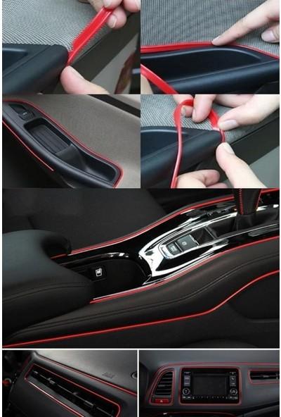 Gardenauto Kırmızı Trim Fitilli Yeni Nesil Araç Içi Ip Şerit Balık Sırtı Nikelajlı 5 Metre