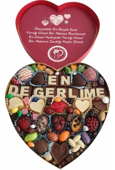 40 Yıl Çikolata Kahve Yazılı Harfli Isimli Resimli Kalpli Çikolata Kutusu