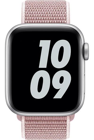 Conocer Apple Watch Spor Loop Dokuma Kordon Örgü 1 2 3 4 5 6 Se Seri 38 mm 40 mm Gül Pembe