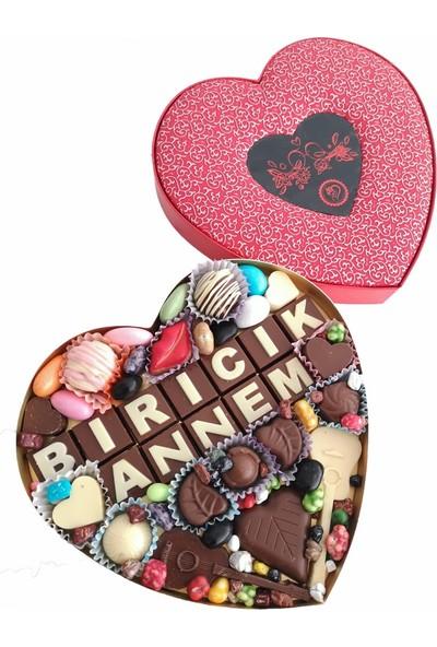 40 Yıl Çikolata Kahve Yazılı Harfli Isimli Resimli Kalpli Çikolata Kutusu Biricik Annem