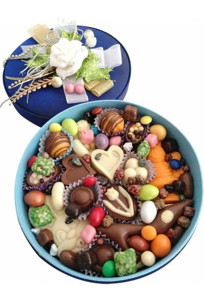 40 Yıl Çikolata Kahve Yuvarlak Kutu Karışık Lezzet Sepeti Çikolata Kutusu