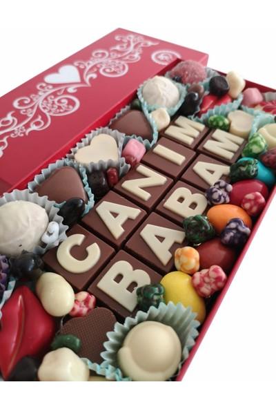 Yazılı Harfli Isimli Resimli Hediyelik Çikolata Kutusu Canım Babam