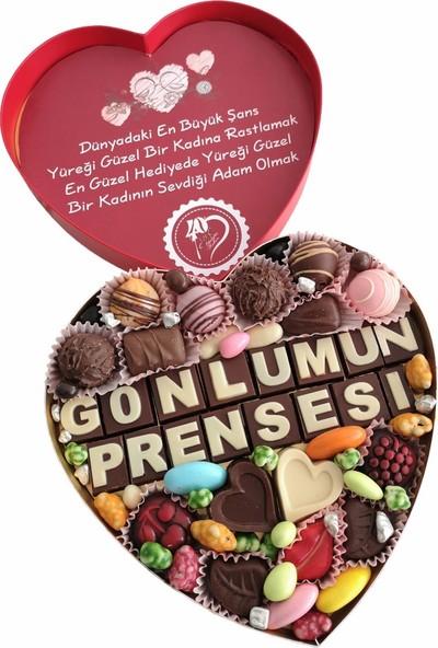 40 Yıl Çikolata Kahve Yazılı Harfli Isimli Resimli Kalpli Çikolata Kutusu Gönlümün Prensesi