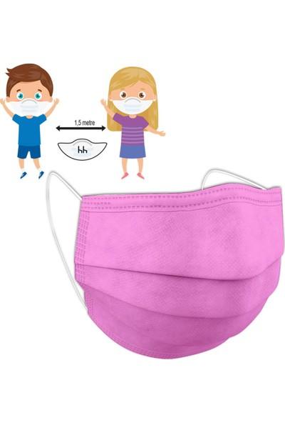 Okula Dönüş Seti Kız ( Hh Çocuk Maskesi 3 Katlı Pembe Renkli 10 Adet + Eyüp Sabri Tuncer Çocuk Kolonyası Pink 150 ml )