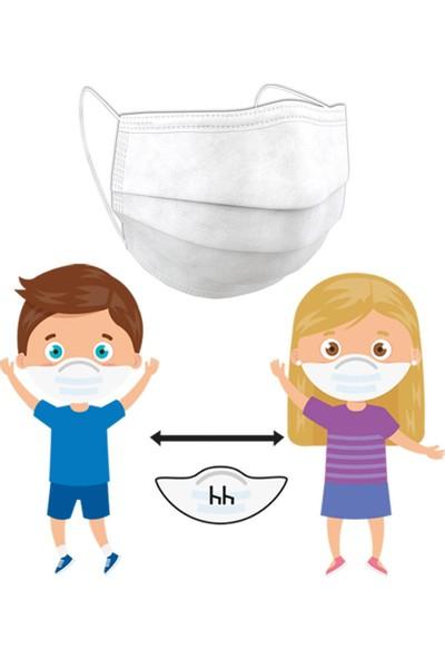 Okula Dönüş Seti ( Hh Çocuk Maskesi 3 Katlı Beyaz Renkli 10 Adet + Eyüp Sabri Tuncer Çocuk Kolonyası Blue 150 ml )