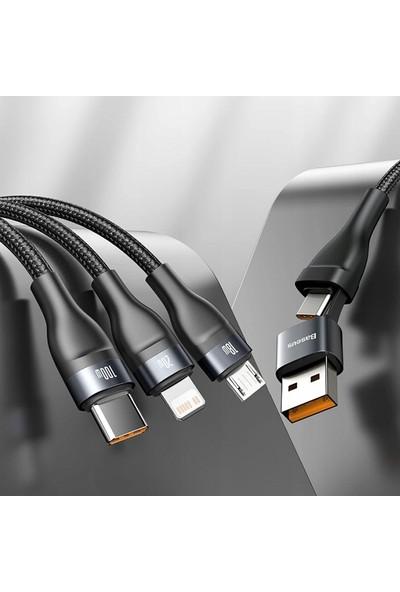 Baseus 5A Flash Series Hızlı Şarj 3 In1 Başlık Micro Type-C Lightning Ikili Başlık 1. 2 mt CA2T3-G1