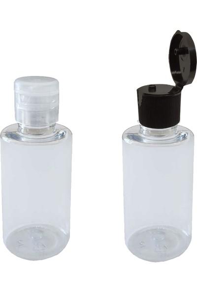 TT Tahtakale Toptancıları Plastik Silindir Kolonya Şişesi Flip Top Kapaklı 50 cc (10 Adet)