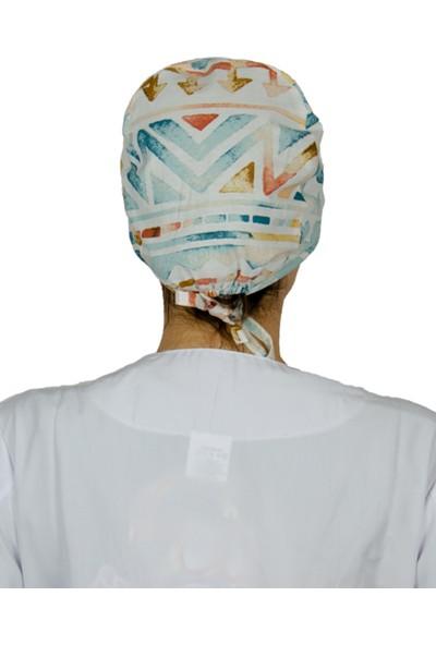 FRM Doktor Hemşire Aşçı Bonesi , Genel Kullanım Çalışma Bonesi %100 Pamuk , Maske için Düğme ve Terbantlı , B MODEL CIZGI