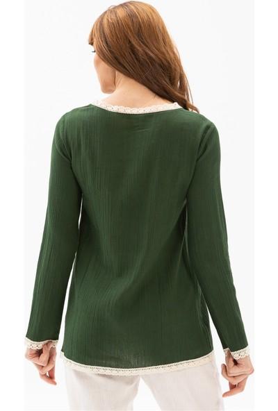 Eliş Şile Bezi Uzun Kol Şile Bezi Mineli Bluz Yeşil