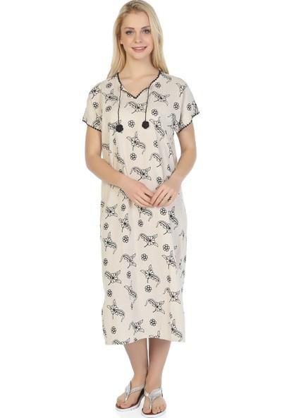 Eliş Şile Bezi Kısa Kol Şile Bezi Baskılı Elbise Serpme Desen Taş