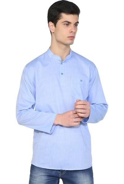 Eliş Şile Bezi Uzun Kol Şile Bezi Hakim Yaka Erkek Tshirt Mavi