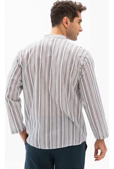 Eliş Şile Bezi Uzun Kol Şile Bezi Hakim Yaka Erkek Tshirt Füme Beyaz Çizgili