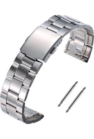 Casio Saat Uyumlu Yandan Basmalı Paslanmaz Çelik Metal Saat Kordonu 22MM Gümüş