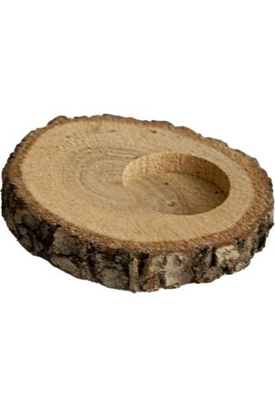 Ak Ahşap Ağaç Kütük Tealight Mumluk Oval Yandan Delikli 50 Adet