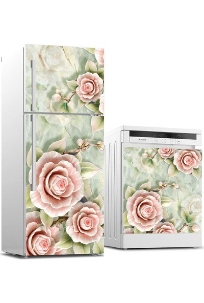 Jasmin2020 Buzdolabı ve Bulaşık Makinası Sticker Kaplama Etiketi 3D Gül