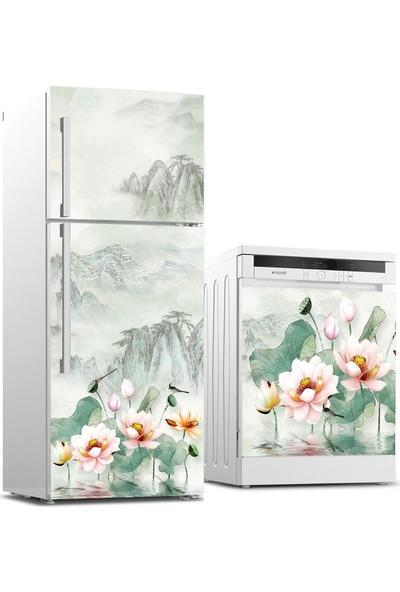 Jasmin2020 Buzdolabı ve Bulaşık Makinası Sticker Kaplama Etiketi Çiçek Resim