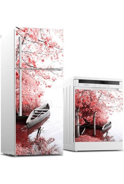 Jasmin2020 Buzdolabı ve Bulaşık Makinası Sticker Kaplama Etiketi Çiçekler Tekne