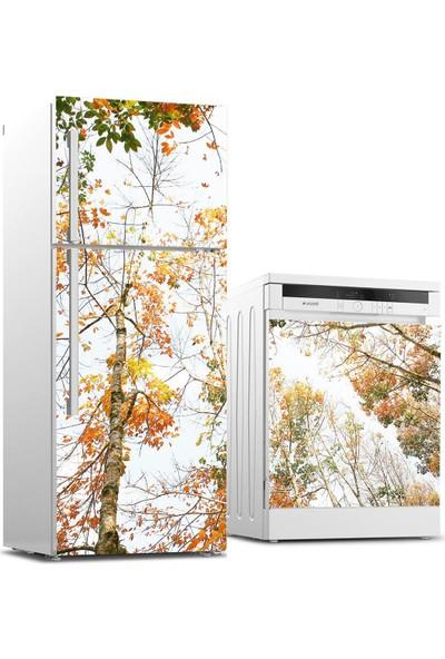 Jasmin2020 Buzdolabı ve Bulaşık Makinası Sticker Kaplama Etiketi Sonbahar Ağaçlar