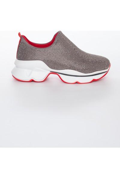 Zulu Taş Işlemeli Kadın Spor Ayakkabı Gümüş Gri