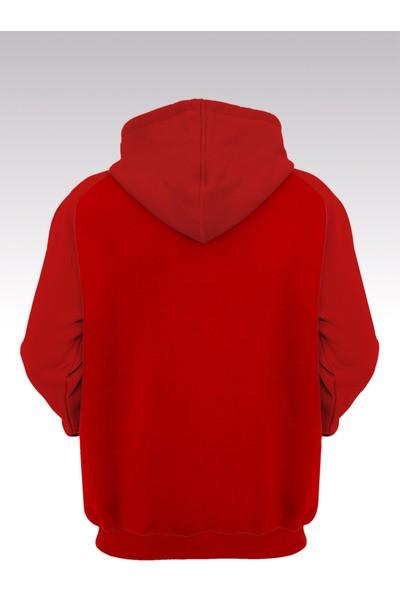 Pabucmarketi Baskılı Kırmızı Kapşonlu Sweatişört - Hoodie
