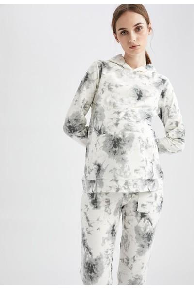 DeFacto Hamile Batik Baskılı Kapüşonlu Sweatshirt