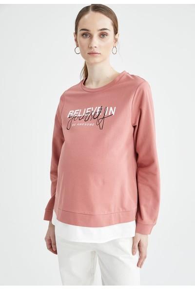 DeFacto Hamile Slogan Baskılı Sweatshirt