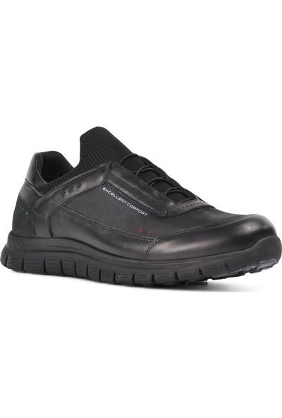Forelli Siyah Deri Erkek Günlük Ayakkabı