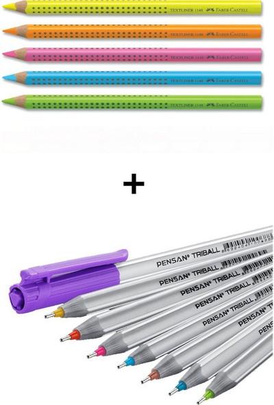 Faber-Castell ve Pensan 13 Renk Fosforlu ve Tükenmez Kalem Seti