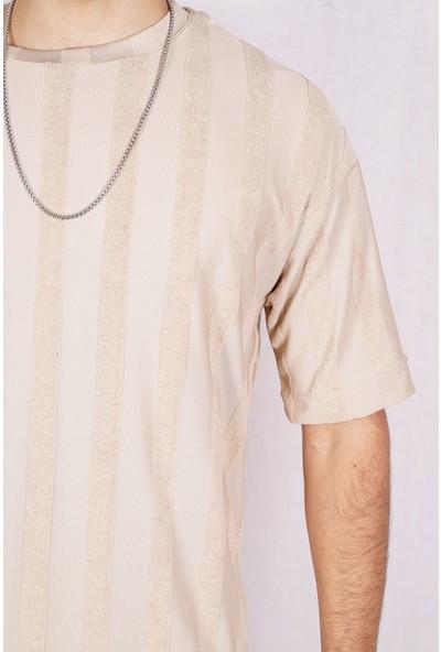 Marrakech Erkek Oversize Havlu Çizgili Yeni Sezon Tshirt