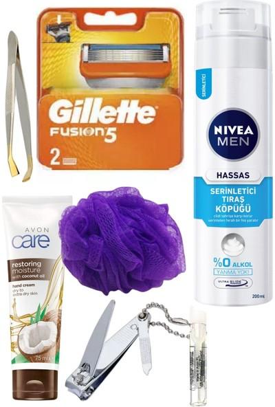 Gillette Fusion 2'li Yedek Tıraş Bıçağı + Nivea Men Tıraş Köpüğü Hassas Serinletici 200 ml + 7 Parça Erkek Tıraş Seti