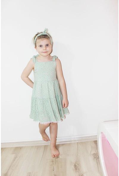 Lifeformoda Kız Çocuk Çiçek Desenli Askılı Bandanalı Elbise