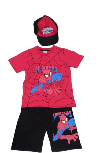 Lifeformoda Erkek Çocuk Spiderman Örümcek Adam Baskılı Şapkalı 3' Lü Takım