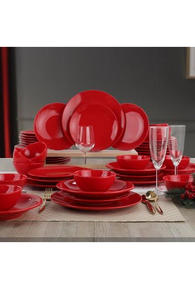 Keramika Ege Kırmızı Yemek Takımı 48 Parça 12 Kişilik