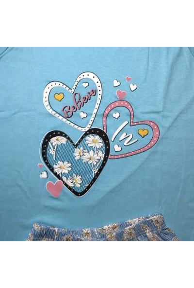 Baray Kadın Mavi Japone Kol Şortlu Pijama Takımı